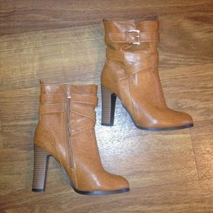 Stylish brown heel ankle boots women size 36 (6)